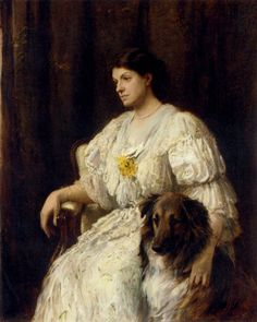 Portrait Of A Lady With Her Collie