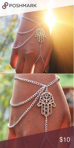 Silver Plated Chain HAMSA Bracelet & Finger Ring New in package 1 pc Silver Plated One size fits all Nickel & Lead Free Perfect sprimg, Summer or Vacation accessorie boutique  Jewelry Bracelets