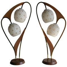 Pair of Majestic Lamp Co. Atomic Lamps, Mid-Century Modern | From a unique collection of antique and modern table lamps at https://www.1stdibs.com/furniture/lighting/table-lamps/