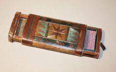 Antique Napoleonic Prisoner of War Straw Work Folk Art - Puzzle Box