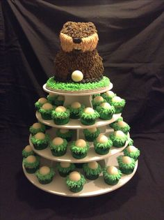 Caddy Shack Gopher with golf ball cupcakes.