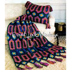 A beautiful Afghan and pillow pair to crochet from the 1970s .. Diamond Jewel Granny Squares! This pattern is worked in a unique combination of