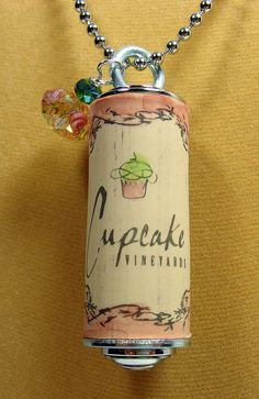 Wine Cork Necklace Pendant Cupcake by BeadazzledBySharon on Etsy, $23.00
