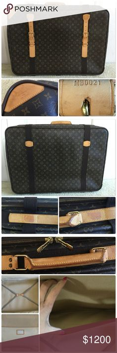 EUC Louis Vuitton Satellite 70 Used and authentic. Large hard luggage from Louis Vuitton. This is the 70. Minor dirt on interior. And marks on leather. Nothing major. I did take pictures. I'll take offers but not looking for low ball offers. This was close to $3000 and PM takes 20% of sales. I don't ever trade. Please don't ask. Louis Vuitton Bags Travel Bags