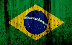 Download wallpapers Brazilian flag, 4k, grunge, South America, flag of Brazil, national symbols, Brazil, coat of arms of Brazil, Brazilian national emblem