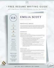 """The """"Emilia Scott"""" resume template features aprofessionalformat with amodern twist, making it an excellent choice for nearly any profession. This easy-to-use, modern resume template will quickly transform your resume, so you canconfidently apply to your dream job ASAP. Includes everything you need to stand out in 2 Modern Resume Template, Resume Templates, Writing A Cover Letter, Resume Writer, Creative Jobs, College Essay, Cover Letter Template, Professional Resume, Helpful Hints"""