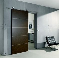 I would love a modern barn door in our home, perhaps lighter in color for our master bath.