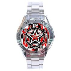 Star Checkerboard Splatter Stainless Steel Analogue Men's Watch by rosiejonsie