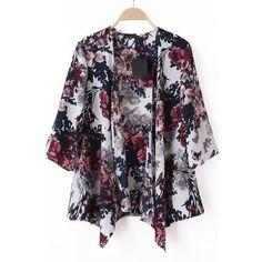 SheIn(sheinside) Multicolour Half Sleeve Floral Loose Kimono (£10) ❤ liked on Polyvore featuring sheinside, kimono and multicolor