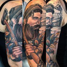 In progress pic of @lindsaybot bearded lumberjack gent. #siege #lumberjack #mancandy #hotguy #bearded #axe #neotraditionaltattoo #traditionaltattoo #autumn #forrest #tattoo #girlytattoo #girly #cabin #stencilstuff #truetubes #fusionink #signme #phoenix #az #azartist #revivalartcollective