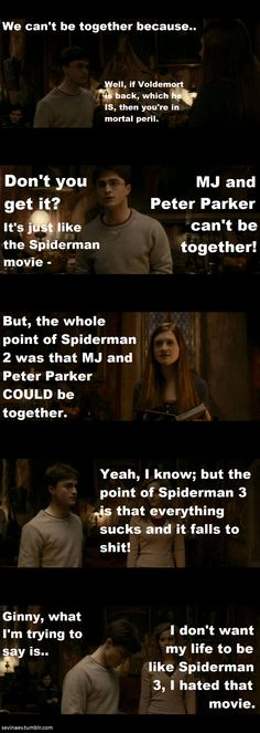 Starkid in Harry Potter (I don't know Starkid, but I agree with everything it says about the Spiderman Trilogy)