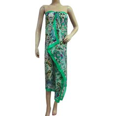 Green Stylish Scarf Pure Silk Floral Pattern Summer Neck Wrap Stole 70? X 40? ..this is img