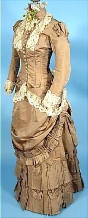 c. 1882 Cocoa Colored Silk 2-piece Bustle Wedding Gown with Silk Lace Trim.