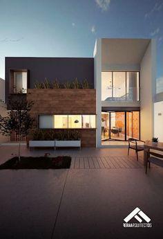 FACHADA POSTERIOR: Casas de estilo moderno por FERAARQUITECTOS