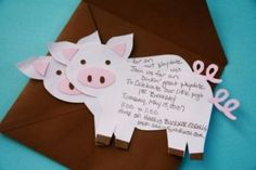 Oopsy Daisy: Three Little Pigs Birthday Party-invites, party hats, mud cakes, etc..