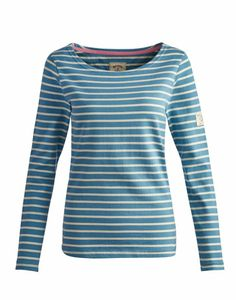 Joules null Womens Jersey Top, Hope Stripe Lt Aqua.                     If you like to be beside the seaside (or simply want a top that's sings of coastal cool) this soft cotton top ticks all the boxes. Look out for the Mariners Grade label, where it appears you can be assured of the finest quality.