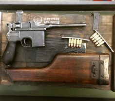 """battlefieldvegas: """" Here's our latest pistol acquisition, a Mauser made famous during WWI. This stock also serves as the holster for this """"broomhandle"""" pistol. This also the same pistol that Han Solo used as his blaster (minus the flash hider. Military Weapons, Weapons Guns, Guns And Ammo, Revolvers, Handgun, Firearms, Revolver Rifle, Muzzle Velocity, Broom Handle"""