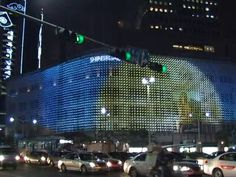 Noblemono,3-layered LED Net-Matrix,installed on the facade of Shinsegae Main Department Store in Seoul,is a 3-layered media facade artwork composed of more than 10'000 LEDs. It creates elegant luxury impresssion by using refined monotone color differentiating itself from conventional showy building decorations. The images about 3 main themes -80th Anniversary of Shinsegae, Christmas, New Year's Day- are rendered in totally unconventional and artistic way and have a firm three ...