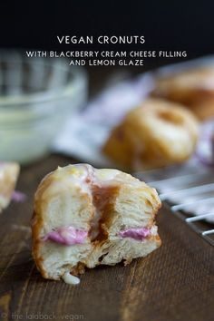 Vegan Cronuts With Blackberry Cream Cheese Filling and Lemon Glaze - In Honor of National Donut Day: 6 Vegan Recipes - ChooseVeg.com