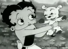 Oh, Betty Boop and Lil Pudgy-Wudgy just love each other soooo much ! Cartoon Gifs, Cartoon Styles, Esther Jones, The Real Betty Boop, Boop Gif, Betty Boop Cartoon, Black And White Cartoon, Aesthetic Gif, Classic Cartoons