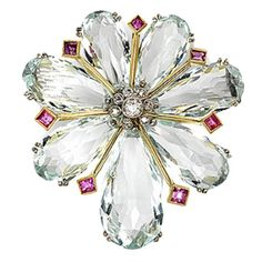 Aquamarine  ruby and diamond brooch | 1stdibs.com