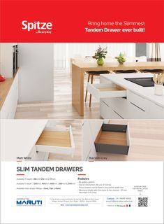 Bring home the slimmest Tandem Drawer by Spitze by Everyday. #spitzebyeveryday #SlimTandemDrawers #InnerDrawerFittings