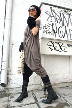 Oversize Twisted Tunid Top/ Taupe Color Loose Dress / by Aakasha, $75.00