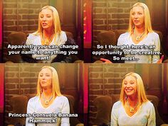 HAHAHA I just watched the last disc of season 10, with all the outtakes. Phoebe cannot get the line out and says Princess Consuela Banana F**** bahahahahahahaha