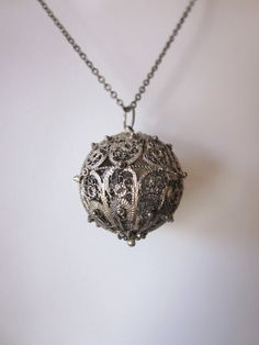 ^this needs a dip in my de-ox but so cool. Vintage Silver Filigree Ball Pendant with Sterling Chain