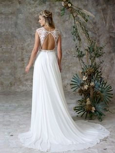 Perfectly light chiffon gown with delicate embroidered bodice and open back Charlotte Balbier, Bridal Separates, Ethereal Beauty, Chiffon Gown, Bridal Collection, Wedding Gowns, Bodice, Delicate, Fashion
