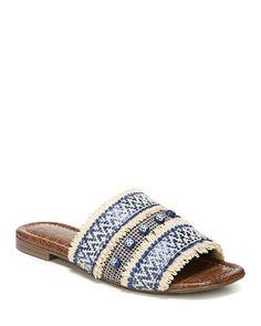 Sam Edelman Women's Brandon Raffia & Leather Slide Sandals #slidesshoes