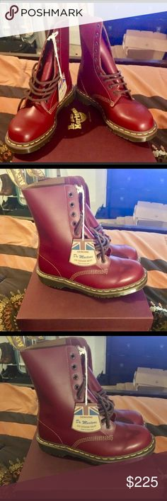 "Dr. Martens 1490 Vintage NIB. DISCONTINUED! Made in England. Vintage 1490-10 eye. Price is FIRM! Color (Oxblood). Sz (US 9 Woman's) 📫 Same/Next day Shipping 💔 Pay Pal 💔 Trades 🚫 No Haggling  🐶 Free home 🚬 Free home Please do not negotiate price in the comments area. If my listing states ""Price is FIRM"" that's exactly what I mean. For other listings, please use the offer tool🔧 Thanks for checking out my closet  🍭SweetLady🍬 Dr. Martens Shoes Combat & Moto Boots"