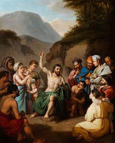 DIE PREDIGT DES HEILIGEN JOHANNES BAPTIST Öl auf Leinwand. 63 x 50 cm. Links unten signiert. Mit graviertem Künstlernamensschild auf vergoldetem...