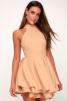 7c15e191c6 Dress Rehearsal Peach Skater Dress Hoco Dresses