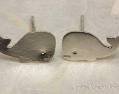 Small Whale Earrings Whale Earrings Sterling door TOTOanimals