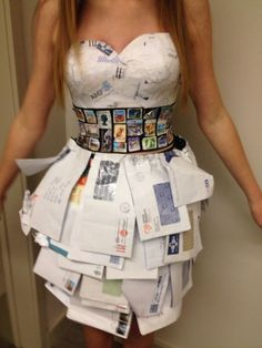 Wearable Art Dress made from old envelopes #wearableart Wearable Art Dress made from old envelopes