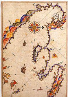 Historic map, Thassaloniki, Greece