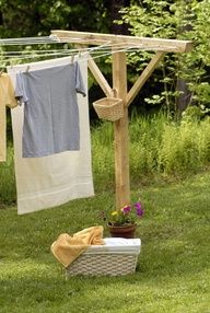 clothesline ~ basket for pins Oh, how I wish I lived in the country so I could hang my clothes out to dry and they would smell fresh and clean and not stink of chemicals poisons. A memory of Aunt Jessies clothes line in her back yard from many years ago.
