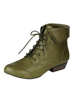 FOLDOVER CUFF LACE UP BOOTIES- Military Green