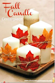 DIY Candle Centerpiece perfect for Fall                                                                                                                                                                                 More