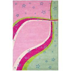 Safavieh Handmade Children's Starlight Pink New Zealand Wool Rug (4' x 6') (SFK338A-4), Multi, Size 4' x 6' (Cotton, Abstract)