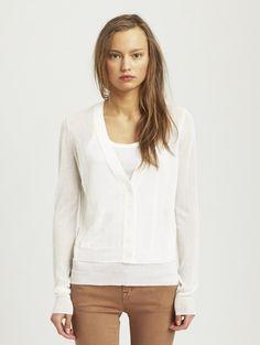 INHABIT Womens Thick & Thin Cardigan - White