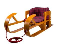 Lucky Bums Heirloom Wooden Sled, Vintage Flyer Style Child's Wood Snow Toboggan  #LuckyBums