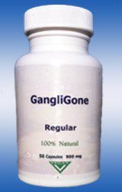 """""""Gangligone"""" (Removes and Dissolves Ganglion Cysts) by FDA-Regular. $59.99. Take one 500mg capsule at night. Removes and Dissolves Baker's cyst and Ganglion cysts. Finally you can do something about your Baker's cyst and Ganglion cysts right away. GangliGone supplement is an all natural product. Revolutionary system dissolves ganglion cysts from the inside out. FDA REGISTERED COMPANY. DO SOMETHING ABOUT YOUR GANGLION CYST OR BAKER'S CYST. Escape the fear and doubt ..."""
