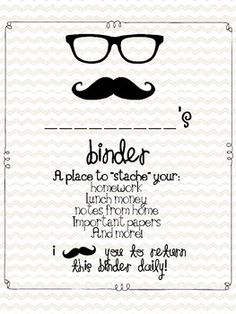 Mustache theme binder covers {a place to stache their stuff!}