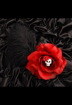 Red Skull Rose Clip with Black Feathers