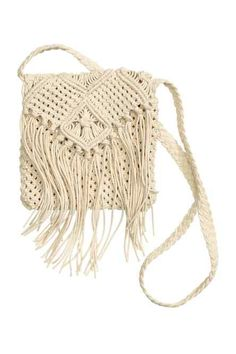 See this and similar H&M shoulder bags - Natural white. Small macramé shoulder bag with a braided shoulder strap. Size 7 x 7 in. 6 Strong Tips: Hand Bags Designer Christmas Gifts hand bags and purses coach. 12 Crochet & Macrame Styles to Make Your Wardro H&m Handbags, Fringe Handbags, Fringe Purse, Crochet Handbags, Macrame Colar, Macrame Purse, Purses And Bags, Handmade Handbags, Crochet Tote