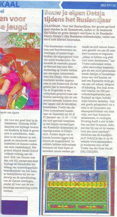 Announcement datsjaproject in local newspaper 2013. www.denkbeelden.com