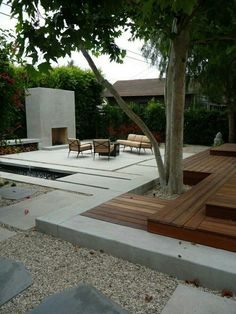 Combination of decking and concrete