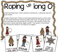 Roping Up Long O  long vowel game and word  sort